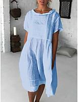 cheap -Women's A Line Dress Knee Length Dress Blue White Short Sleeve Solid Color Pleated Spring Summer Peter Pan Collar Active Casual 2021 S M L XL XXL XXXL / Cotton
