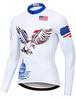 cheap -21Grams Men's Long Sleeve Cycling Jersey Spandex White American / USA Eagle Bike Top Mountain Bike MTB Road Bike Cycling Quick Dry Moisture Wicking Sports Clothing Apparel / Stretchy / Athleisure