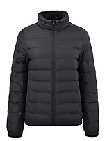 cheap -Women's Sports Puffer Jacket Hiking Down Jacket Hiking Windbreaker Winter Outdoor Thermal Warm Windproof Lightweight Breathable Outerwear Trench Coat Top Skiing Fishing Climbing Female black Female