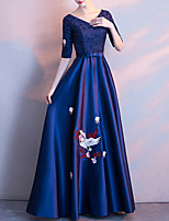 cheap -A-Line Elegant Floral Wedding Guest Formal Evening Dress V Neck Long Sleeve Floor Length Satin with Bow(s) Pleats Lace Insert 2021