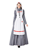 cheap -Nurse Doctor Dress Cosplay Costume Adults' Women's Dresses Halloween Halloween Halloween Festival / Holiday Terylene Gray Women's Easy Carnival Costumes Solid Color / Headpiece / Apron