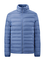 cheap -Men's Sports Puffer Jacket Hiking Down Jacket Hiking Windbreaker Winter Outdoor Thermal Warm Windproof Lightweight Breathable Outerwear Trench Coat Top Skiing Fishing Climbing Male black Male blue