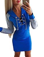 cheap -Women's Sheath Dress Short Mini Dress Blue Blushing Pink Gray Long Sleeve Color Block Patchwork Fall Winter Shirt Collar Casual 2021 S M L XL XXL 3XL / Cotton