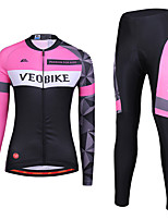 cheap -Women's Long Sleeve Cycling Jersey with Tights Winter Spandex Polyester Pink / Black Patchwork Funny Bike Clothing Suit 3D Pad Quick Dry Breathable Reflective Strips Sports Patchwork Mountain Bike