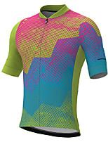 cheap -21Grams Men's Short Sleeve Cycling Jersey Summer Spandex Yellow Blue Green Polka Dot Color Block Bike Top Mountain Bike MTB Road Bike Cycling Quick Dry Moisture Wicking Sports Clothing Apparel