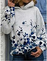 cheap -Women's Pullover Hoodie Sweatshirt Flower Patchwork Print Casual 3D Print Casual Hoodies Sweatshirts  Loose Gray