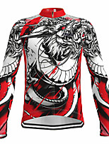 cheap -21Grams Men's Long Sleeve Cycling Jersey Spandex Polyester Red Dragon Funny Bike Top Mountain Bike MTB Road Bike Cycling Quick Dry Moisture Wicking Breathable Sports Clothing Apparel / Athleisure