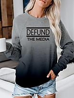 cheap -Women's Sweatshirt Pullover Gradient Text Slogan Print Daily Sports 3D Print Active Streetwear Hoodies Sweatshirts  Blue Gray Green