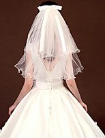 cheap -Three-tier Casual / Daily / Sweet Wedding Veil Shoulder Veils with Satin Bow / Solid Tulle