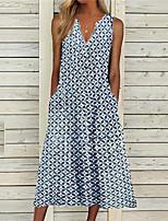 cheap -Women's A Line Dress Midi Dress Blue Purple Green Sleeveless Geometric Pocket Print Fall Summer V Neck Casual 2021 S M L XL XXL