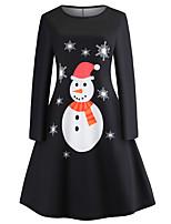 cheap -Women's A Line Dress Short Mini Dress White Black Long Sleeve Print Animal Print Fall Winter Round Neck Casual Vintage Christmas 2021 S M L XL XXL