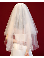 cheap -Two-tier Cute / Sweet Wedding Veil Blusher Veils / Shoulder Veils with Scattered Crystals Style / Solid Tulle