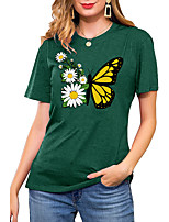 cheap -Women's T shirt Floral Graphic Butterfly Print Round Neck Basic Vintage Tops Regular Fit Blue Blushing Pink Wine