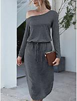 cheap -Women's T Shirt Dress Tee Dress Midi Dress Blue Light Grey Black Dark Gray Long Sleeve Solid Color Elastic Waistband Fall Winter Wide collar Basic Casual 2021 S M L XL