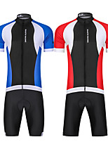 cheap -Men's Short Sleeve Cycling Padded Shorts Cycling Jersey with Bib Shorts Cycling Jersey with Shorts Summer Spandex Red / White Red+Black Bule / Black Bike UV Resistant Quick Dry Sports Lines / Waves