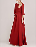 cheap -Two Piece A-Line Beautiful Back Princess Engagement Formal Evening Dress Jewel Neck Long Sleeve Sweep / Brush Train Chiffon with Bow(s) 2021