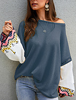 cheap -Women's Painting T shirt Graphic Color Block Long Sleeve Patchwork Print Round Neck Basic Tops Blue Blushing Pink Wine