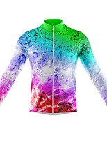 cheap -21Grams Men's Long Sleeve Cycling Jersey Spandex Polyester Blue+Green 3D Graffiti Funny Bike Top Mountain Bike MTB Road Bike Cycling Quick Dry Moisture Wicking Breathable Sports Clothing Apparel