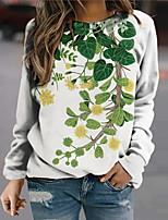 cheap -Women's Sweatshirt Pullover Floral Plants Print Sports Holiday 3D Print Active Streetwear Hoodies Sweatshirts  Green