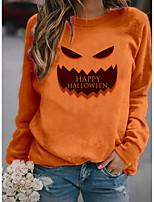 cheap -Women's Sweatshirt Pullover Text Pumpkin Print Halloween Sports 3D Print Active Streetwear Hoodies Sweatshirts  Orange White Black