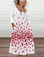 cheap -Women's A Line Dress Midi Dress Yellow Blushing Pink Khaki Dark Green Orange White Black Red Long Sleeve Print Modern Style Fall Winter V Neck Casual 2021 S M L XL XXL XXXL