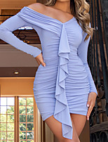 cheap -Women's Sheath Dress Short Mini Dress Blue Fuchsia Black Long Sleeve Solid Color Ruched Pleated Fall Summer V Neck Casual Holiday 2021 S M L XL