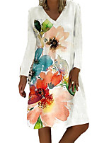 cheap -Women's A Line Dress Knee Length Dress White Long Sleeve Floral Print Fall V Neck Casual 2021 S M L XL XXL