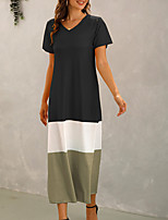 cheap -Women's Shift Dress Maxi long Dress Blue Yellow Gray Green Black Red Short Sleeve Color Block Patchwork Fall Summer V Neck Casual 2021 S M L XL XXL 3XL 4XL 5XL