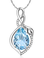 cheap -Pendant Necklace Necklace Women's Classic Cubic Zirconia Silver Plated Simple Fashion Classic Casual / Sporty Sweet Cute Purple Dark Green Light Blue 45 cm Necklace Jewelry 1pc for Street Gift Daily