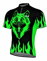 cheap -21Grams Men's Short Sleeve Cycling Jersey Summer Spandex Polyester Green Wolf Fluorescent Funny Bike Top Mountain Bike MTB Road Bike Cycling Quick Dry Moisture Wicking Breathable Sports Clothing