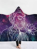 cheap -New Hooded Blanket Cloak Magic Hat Blanket Thick Double Layer Plush Digital Printing Buddha Statue Series