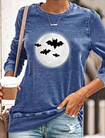 cheap -Women's Halloween Painting T shirt Graphic Long Sleeve Print Round Neck Basic Halloween Tops Cotton Blue Yellow Gray