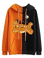 cheap -Women's Hoodie Graphic Halloween Pumpkin Patchwork Print Halloween Hot Stamping Halloween Hoodies Sweatshirts  Loose Black