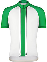 cheap -21Grams Men's Short Sleeve Cycling Jersey Summer Spandex Green Stripes 3D Bike Top Mountain Bike MTB Road Bike Cycling Quick Dry Moisture Wicking Sports Clothing Apparel / Stretchy / Athleisure
