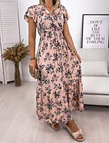 cheap -Women's Swing Dress Maxi long Dress Blushing Pink Green White Black Short Sleeve Floral Solid Color Print Fall V Neck Casual 2021 S M L XL XXL