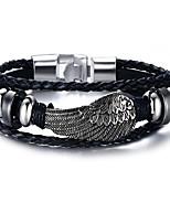 cheap -MPL Alloy black gallstone wings Leather Bracelet Black men's trendy Bracelet