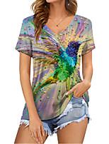 cheap -Women's Geometric T shirt Bird Print V Neck Basic Tops Rainbow