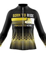 cheap -21Grams Women's Long Sleeve Cycling Jersey Spandex Polyester Black / Yellow Funny Bike Top Mountain Bike MTB Road Bike Cycling Quick Dry Moisture Wicking Breathable Sports Clothing Apparel / Stretchy