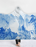 cheap -New Hooded Blanket Cloak Home Blanket Children's Blanket Thicken Blanket Hood Blanket Blue And White Porcelain Pattern Series