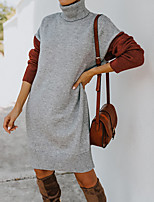 cheap -Women's Sweater Jumper Dress Short Mini Dress Grey khaki Apricot Long Sleeve Color Block Classic Style Fall Winter High Neck Basic Casual Holiday 2021 S M L XL / Cotton