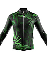 cheap -21Grams Men's Long Sleeve Cycling Jersey Spandex Green Leaf Bike Top Mountain Bike MTB Road Bike Cycling Quick Dry Moisture Wicking Sports Clothing Apparel / Stretchy / Athleisure