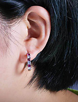 cheap -Women's AAA Cubic Zirconia Earrings Round Cut Mini Stylish Artistic Luxury Trendy Korean Platinum Plated Gold Plated Earrings Jewelry Purple / Light Red / Blue For Christmas Gift Daily Work Festival