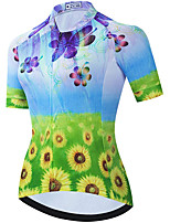 cheap -21Grams Women's Short Sleeve Cycling Jersey Summer Spandex Polyester Blue+Green Funny Bike Top Mountain Bike MTB Road Bike Cycling Quick Dry Moisture Wicking Breathable Sports Clothing Apparel