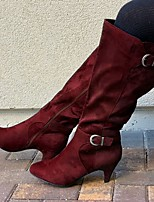 cheap -Women's Boots High Heel Pointed Toe PU Solid Colored Red Green Dark Blue