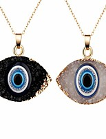 cheap -lucky turkish evil eye hamsa hand resin druzy stone pendant acrylic protection eye wealth amulet link chain necklace for women men girl boy good luck unisex jewelry gift-a 2pcs