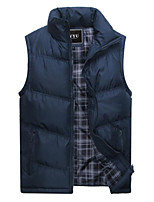 cheap -Men's Vest Daily Going out Fall Winter Regular Coat Regular Fit Thermal Warm Windproof Warm Casual Streetwear Jacket Sleeveless Geometric Patchwork Print Army Green Gray Khaki