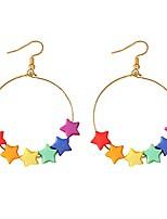 cheap -unique cute resin dangle drop earring funny cartoonn rainbow color stars drop earrings acrylic tassel earrings for women girls jewelry gifts (style-3)