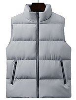 cheap -Men's Vest Gilet Street Daily Going out Fall Winter Regular Coat Regular Fit Thermal Warm Windproof Casual Jacket Sleeveless Solid Color Pocket Blue Gray Black