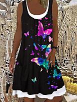 cheap -Women's A Line Dress Knee Length Dress Black butterfly Sleeveless Butterfly Print Fall Round Neck Casual Regular Fit 2021 S M L XL XXL XXXL 4XL 5XL