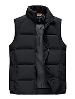 cheap -Men's Vest Sport Daily Fall Winter Regular Coat Stand Collar Loose Thermal Warm Windproof Warm Breathable Sporty Jacket Sleeveless Solid Color Print Khaki White Black